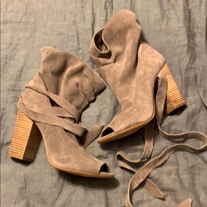 Lace up peep toe suede booties